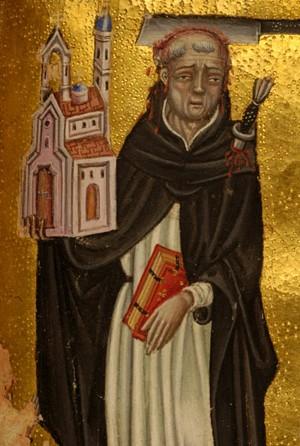 Detalle del Santo por Zanino di Pietro en un Libro de Horas.