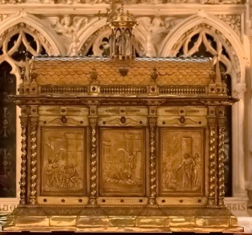 Urna de las reliquias del santo en su iglesia de Limoges (Francia).