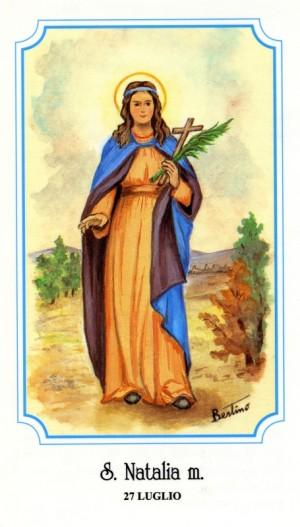 "Estampa devocional italiana de Santa Natalia (Sabigoto), perteneciente a la serie del ilustrador Alberto Boccali (""Bertino"")."