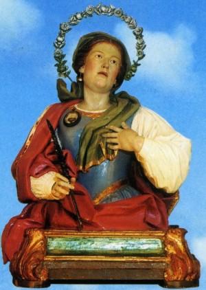 Busto relicario de la Santa, venerado en Rocca S. Felice, Italia.