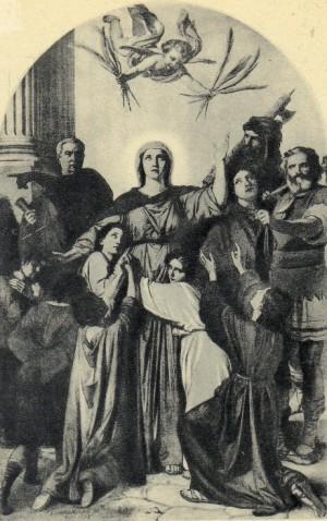 Lienzo de los mártires, obra de V. Morani (1856). Abadía de Santa Felicidad, Cava de Tirreni, Italia.