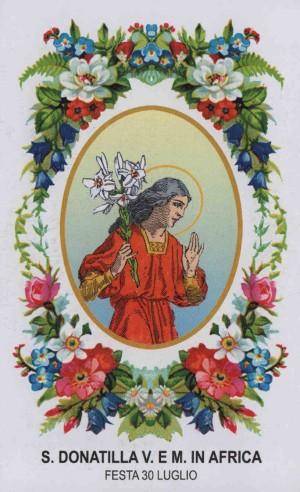 Estampa devocional italiana de Santa Donatila, virgen y mártir africana.