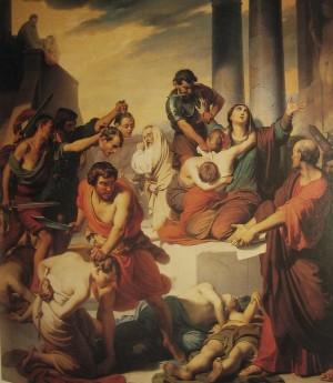 La Santa obligada a presenciar el martirio de sus hijos. Lienzo de Francesco Coghetti (s.XIX). Ex-iglesia -hoy restaurante- de Santa Felicidad, Verona (Italia).