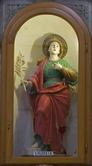 Imagen-relicario de la Santa venerado en la iglesia de San Juan Bautista de Monteleone, Italia.