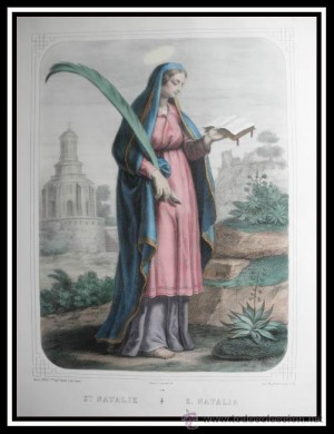 Grabado español coloreado de Santa Natalia (Sabigoto) de Córdoba.