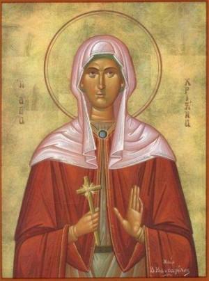 Icono ortodoxo griego de Santa Sira (Cristina) de Persia.