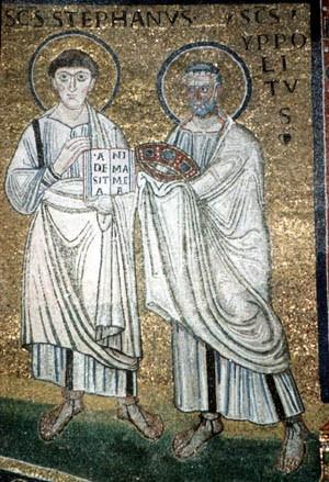 Mosaicos en la basílica de San Apolinar Nuevo en Ravenna (Italia).