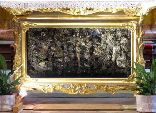 Reliquias del santo en Saint-Hippolyte, Alsacia (Francia).