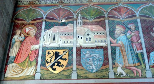 Pintura del siglo XV en la que se representa la fundación del monasterio de Heilsbronn. En ella aparece San Otón y el conde Rapoto de Abenberg.