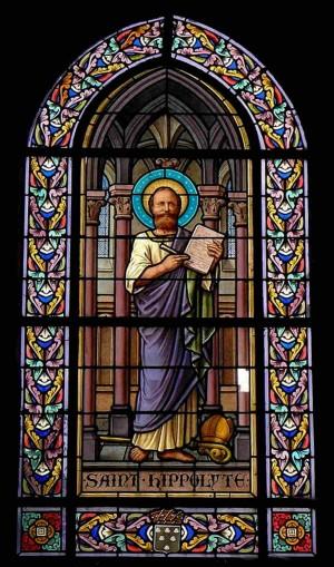 Vidriera en la iglesia de San Juan Bautista, en Saint-Jean-sur-Vilaine (Francia) en la que es representado como sacerdote y escritor.