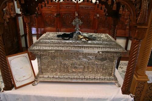 Urna con las reliquias del santo. Ítaca (Grecia).