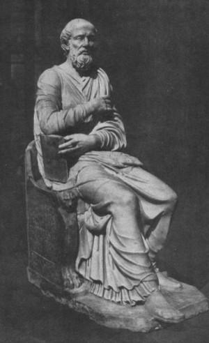 Escultura romana antigua, identificada como San Hipólito, encontrada en 1551 en Via Tiburtina, Roma, y actualmente en la Biblioteca Vaticana (siglo IV-V).
