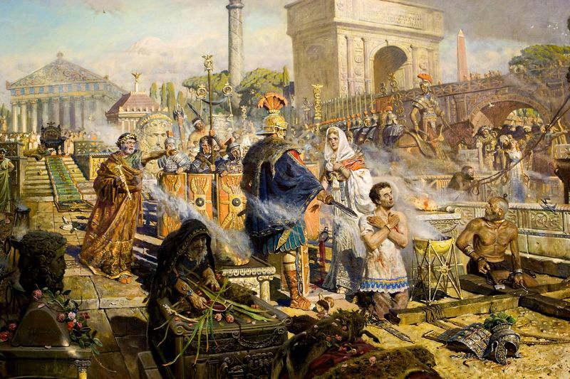 """Detalle de """"La elección de la fe"""", óleo del pintor ruso Pavel Viktorovich Ryzhenkov, que muestra a la emperatriz Alejandra saliendo en defensa de San Jorge."""