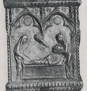 Las Santas Juliana y Semproniana sepultan el cuerpo de su maestro Cucufate. Detalle de la arqueta de las reliquias. Museo diocesano de Barcelona, España.