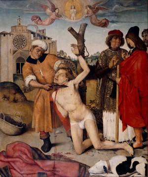 Martirio del Santo. Tabla gótica obra de Ayne Bru (1500-1507).
