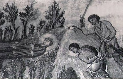 Geminiano es sorprendido y ejecutado mientras entierra a Lucía. Menologio de Basilio II (s.X), Biblioteca Apostolica Vaticana, Roma (Italia).