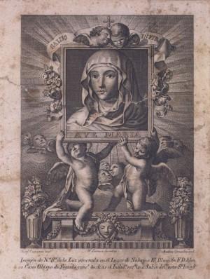 Grabado de la Virgen de la Luz, patrona de Navajas, Castellón, España.