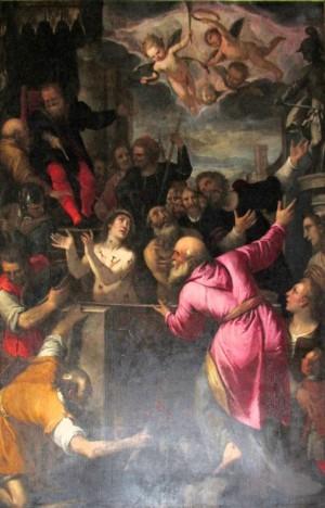 Martirio de los Santos. Lienzo de Pietro Sorri (1595). Iglesia de San Frediano, Lucca (Italia).