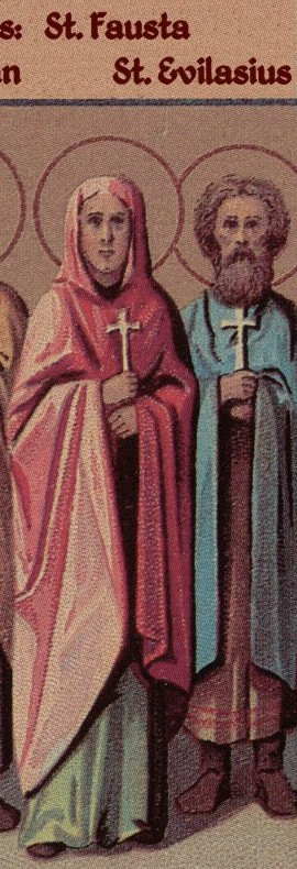 Detalle de los Santos Fausta y Evilasio. Ilustración para el Prólogo de Ochrid.