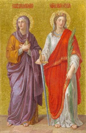 Santas María Magdalena y Alejandra emperatriz. Mosaico de Duzi en la catedral de Moscú, Rusia.