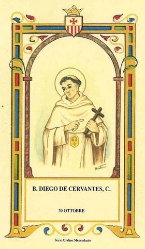 "Estampa del Beato Diego de Cervantes, perteneciente a la serie del ilustrador Alberto Boccali (""Bertino"")."
