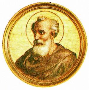Medallón de San Eleuterio perteneciente a la serie de los Papas. Basílica de San Pablo Extramuros, Roma (Italia).