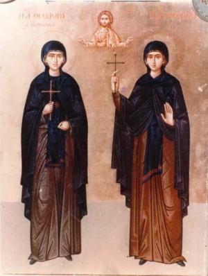 Icono de santa Teodora y de su hija Santa Teopista.