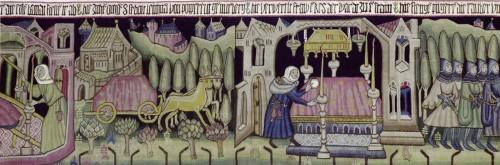 Tapiz de San Sebaldo. Detalle del milagro de los bueyes. Germanisches Museum, Alemania.
