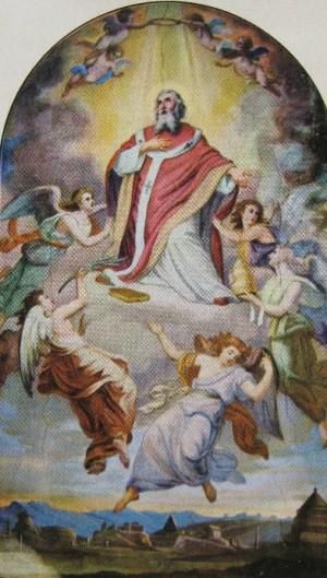 Lienzo del Santo en el altar mayor de la iglesia de San Marcelo al Corso, Roma (Italia).
