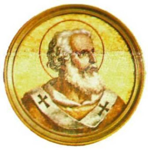 Medallón del Santo en la galería de los Papas. Basílica de San Pablo Extramuros, Roma (Italia).