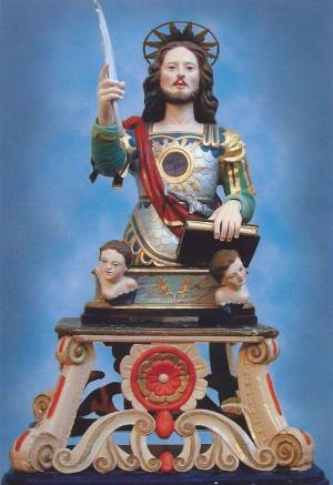 Busto-relicario de San Félix venerado en Montepaone, Italia.