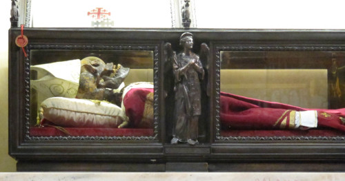 Detalle de las reliquias del Santo.