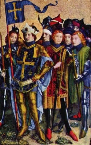 Detalle de San Gereón y compañeros en una tabla gótica de Stephan Lochn.