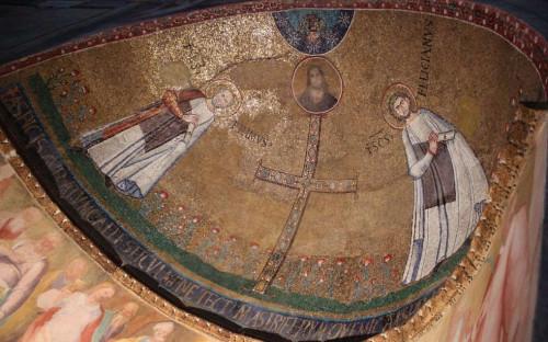 Mosaico de los Santos en la bóveda de su capilla-sepulcro. Iglesia de San Stefano Rotondo, Roma (Italia).