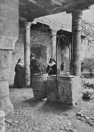 La Santa en el pozo de la Casa de Sta Teresa.