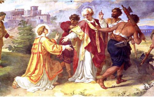 San Sixto se despide de San Lorenzo. Fresco en la Basílica de San Lorenzo in Damaso, Roma, Italia.