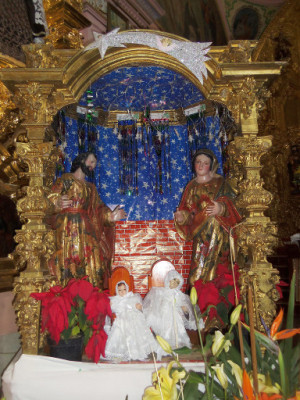 Nacimiento barroco del templo de los Santos Reyes, en Los Reyes Tlanechicolpan, Puebla. Cortesía de Tacho de Santa María.Este tipo de imágenes eran muy gustadas durante el virreinato y muchas se hacían traer desde Guatemala.
