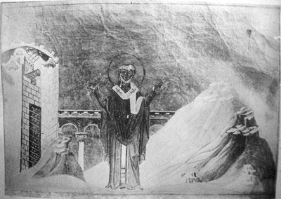 Detalle del Santo en el Menologio de Basilio II. Biblioteca Apostolica Vaticana, Roma (Italia).