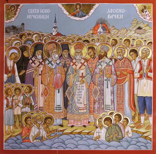 Icono ortodoxo serbio de los neomártires de Jasenovac.