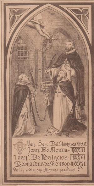 Estampa de los tres mártires trinitarios de Argel.