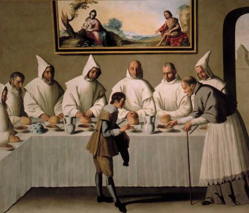 El Santo visita el refectorio. Lienzo del pintor barroco español Francisco de Zurbarán. Museo de Bellas Artes de Sevilla, España.