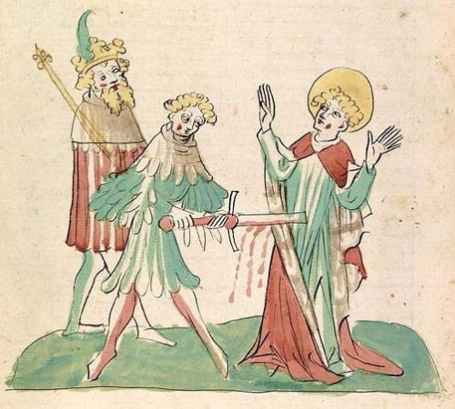 Iluminación medieval del martirio de San Quiliano (Kilian).