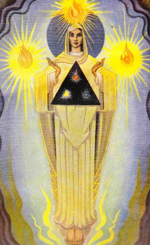 Ilustración de la Santa con su simbología mística. Obra de Richard King (1974).