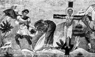 Detalle del martirio de San Gemelo de Ancira. Menologio de Basilio II (s.XI). Biblioteca Apostolica Vaticana, Roma (Italia).