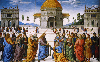 Cristo entrega las llaves a San Pedro. Obra de Pietro Perugino.