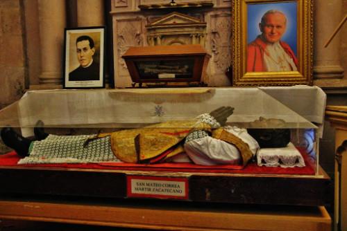 Reliquias del Santo en la catedral de Zacatecas, México.