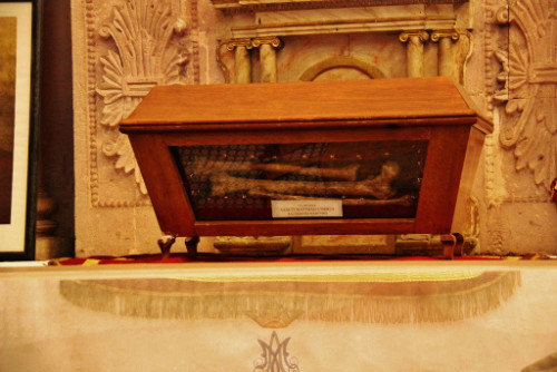 Detalle de las reliquias del Santo en la catedral de Zacatecas.