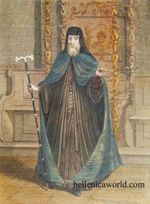 Grabado coloreado del Santo en su atuendo patriarcal. Fuente: www.hellenicaworld.com