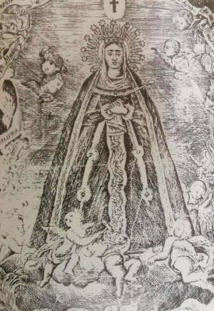 Grabado del siglo XVII con la Virgen de la Soledad.