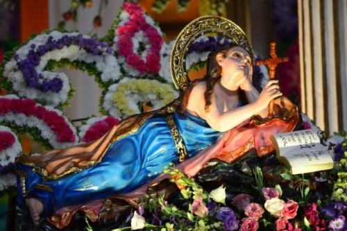 Vista de la imagen original de la Santa. Xico, México.